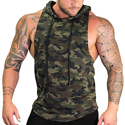 Men's Camo Hooded Tank Tops Sleeveless Drawstring Hoodie Shirt Bodybuilding Muscle Cut Off Hipster T Shirt for Gym Workout Fitness : Sports & Outdoors