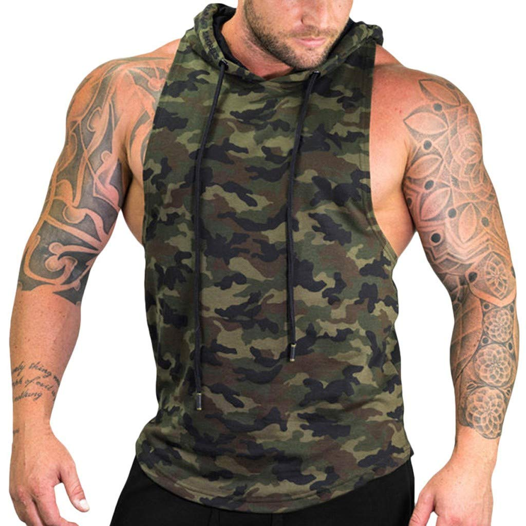 DIOMOR Mens Fashion Camouflage Workout Sleeveless Hoodie Camo Fitness Hooded Tank Tops Gym Sleeveless Sweatshirt