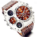 Men's Watch Oversize Steampunk Dual Time Zone Four Dial Big Face Watches Soft Leather Band Policy Army Compass… 6