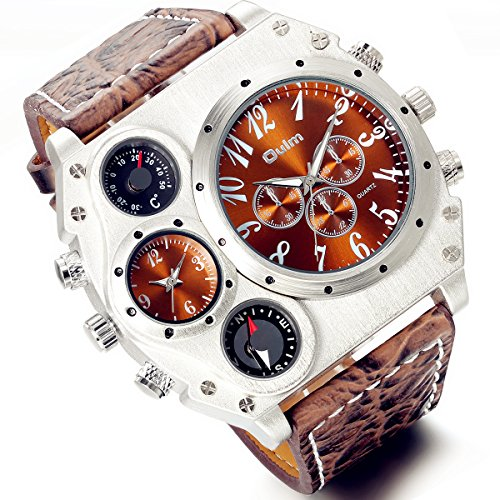 Men's Watch Oversize Steampunk Watch Dual Time Zone Four Dial Big Face Watches Brown Leather Band Policy Army Compass Thermometer Decorative Dial Cool Wrist Watch for Halloween Costume Party