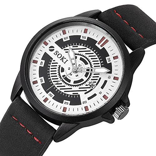 Couple Fashion Nylon strap Analog Quartz Round Wrist Watch Watches (White -B) ()
