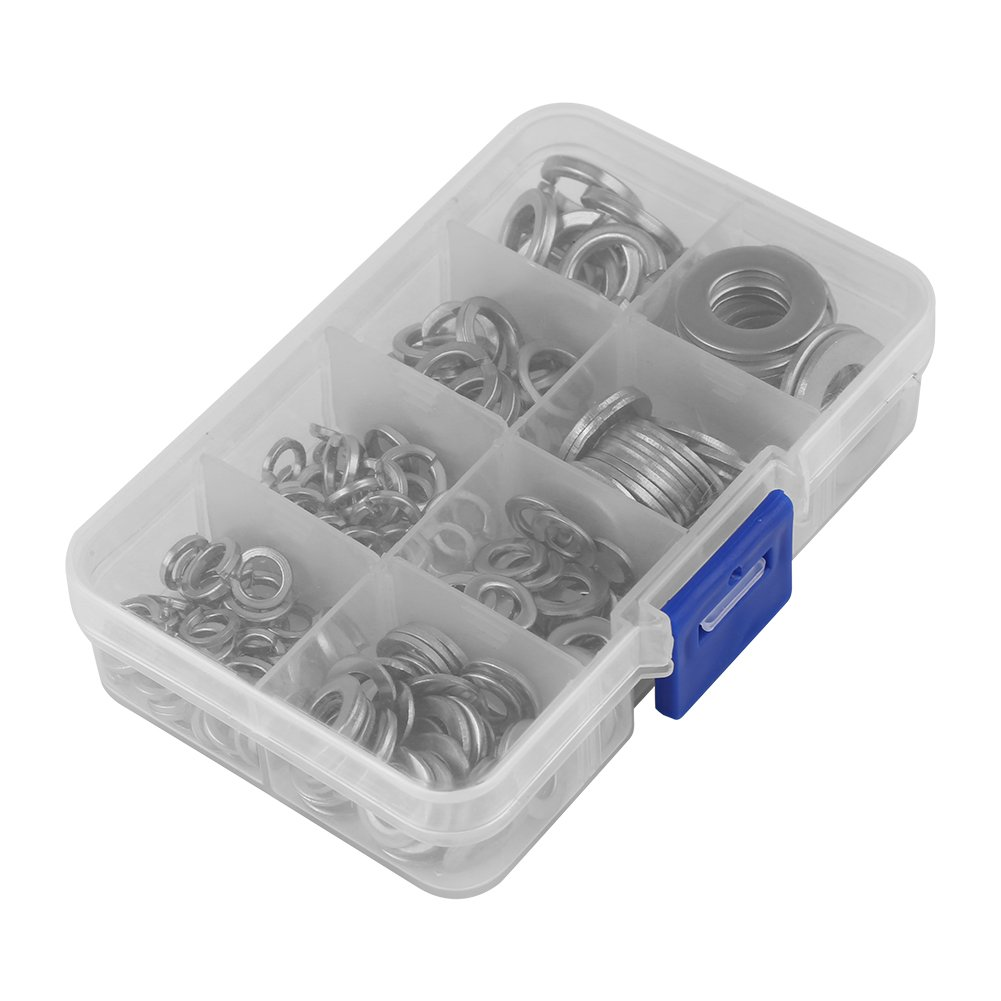 Stainless Steel Washer 200 PCS Stainless Steel Flat /& Spring WasherKit M5 M6 M8 M10 with Box