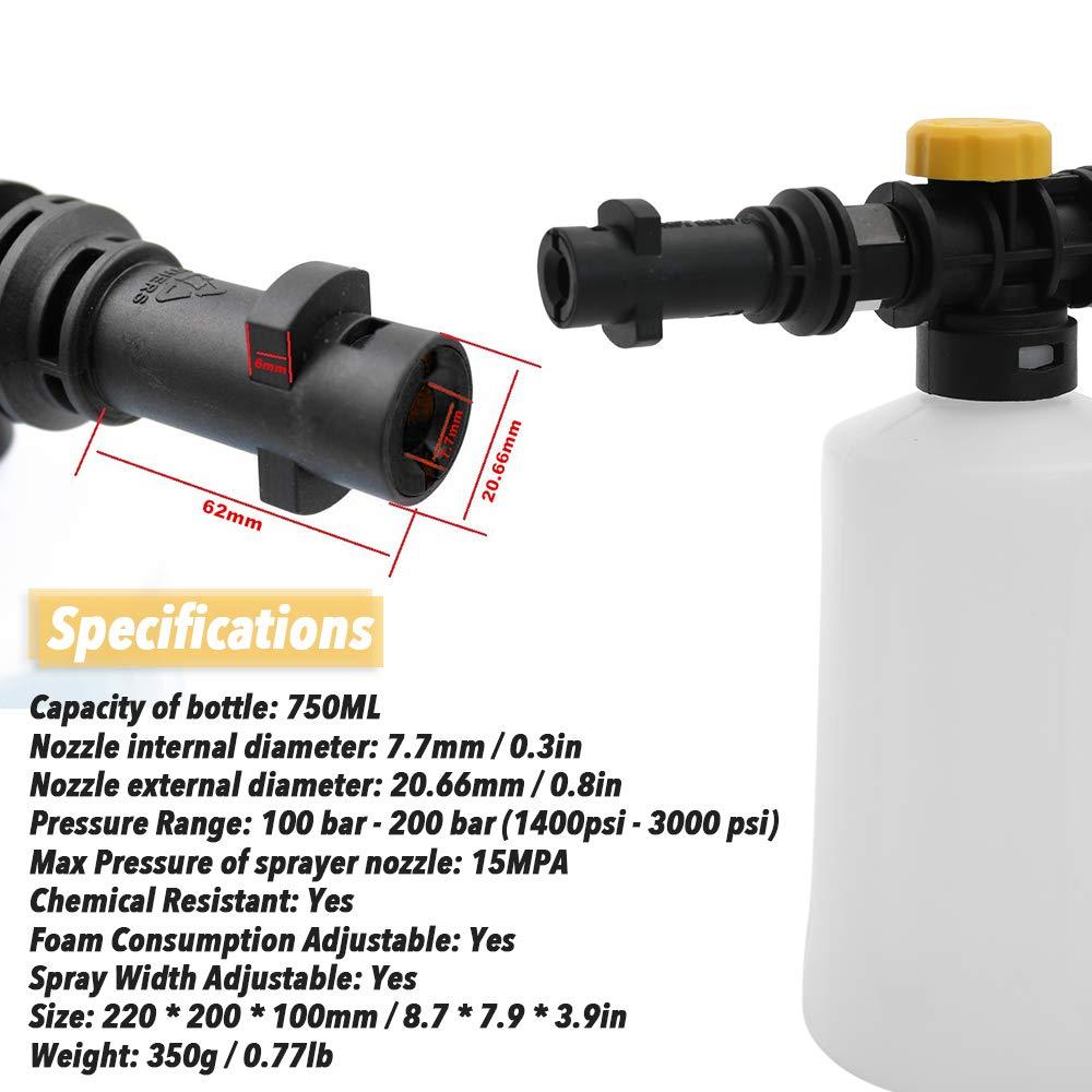 750 ML Lanza de espuma de nieve para Karcher K2 K3 K4 K5 K6 K7 Coche Lavadoras a presi/ón Generador de espuma de jab/ón con boquilla de rociador ajustable
