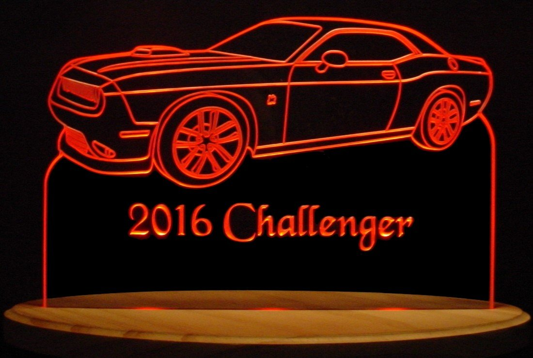 2016 Challenger RT Acrylic Lighted Edge Lit 13'' Oval Wood Base 3 LED Sign VVD2 Light Up Plaque VVD09 16 Full Size Made in the USA