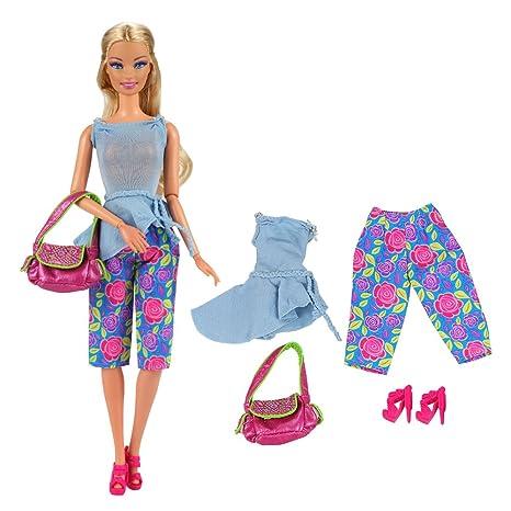 Miunana Abito E Accessori Per Bambola Barbie Dolls (Cappotto Azzurro +  Indumento Intimo Azzurro + 6aaab23c1c7