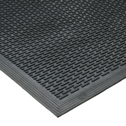 "Rubber-Cal 03-239-LI ""DuraScraper Linear"" Commercial Rubber Entrance Door Mat, 3/8"" Thick x 36"" x 60"", Black"