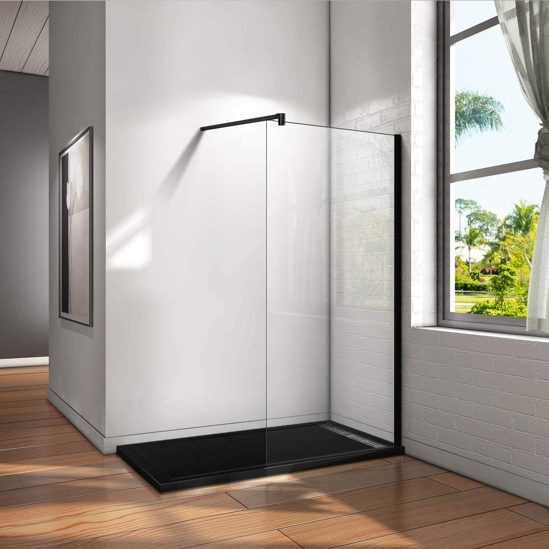 Mamparas de Ducha Pantalla Panel Fijo Perfil Negro Cristal Antical 8mm Barra 90cm - 70x200cm: Amazon.es: Bricolaje y herramientas