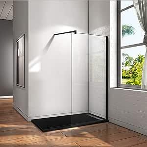 Mamparas de Ducha Pantalla Panel Fijo Perfil Negro Cristal Antical 8mm Barra 90cm - 50x200cm: Amazon.es: Bricolaje y herramientas