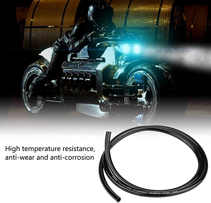 Fuel Line,Motorcycle Universal Non Braided Rubber Fuel Line Hose Petrol Oil Pipe 1m Long Car Accessories Black