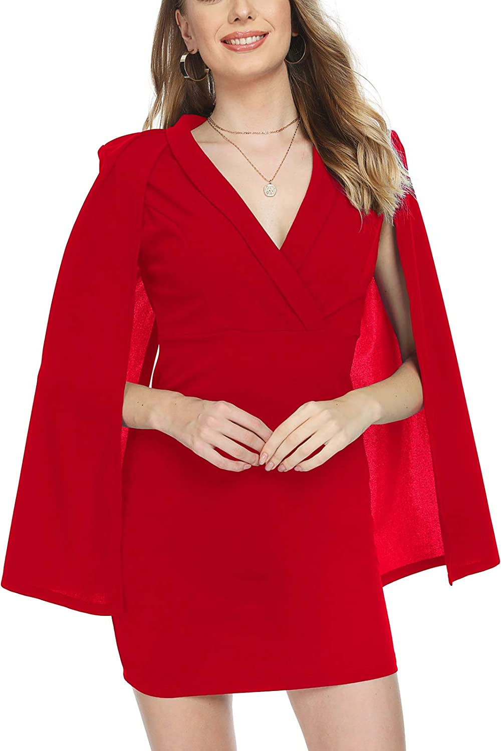 Tivanna Cloak Sleeve Mini Dress Sexy Deep Vneck Cocktail Dresses for Women
