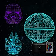 3D Star Wars Night Light Toy, 3D Illusion Lamp16 Colors+7 Colors Changing Dimmable with Smart Touch and Remote Control, Uniq