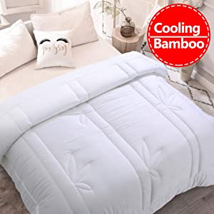 Luxurious Cooling 100% Bamboo King Size Comforter 1000 TC Duvet Insert Smooth Soft Summer Comforters All Season Year Around Soft Quilted Down Alternative Duvet Insert With Corner Tabs (White, King)