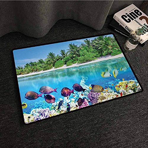 DuckBaby Interesting Doormat Island Sandy Seacoast and The Underwater Aquatic World in Maldives Travel Diving Paradise Photo with Anti-Slip Support W35 xL59 ()