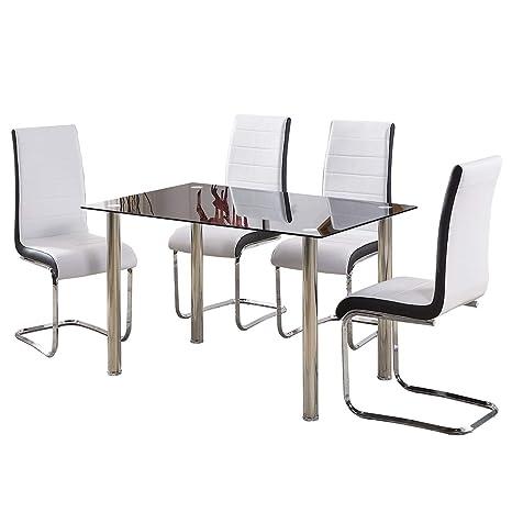 Muebles de comedor GIZZA. Moderno juego de mesa de cristal templado negro y 4 patas