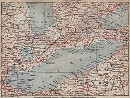 Hamilton Ontario Canada Map.Amazon Com Southern Ontario Lake Erie Detroit Toronto Hamilton