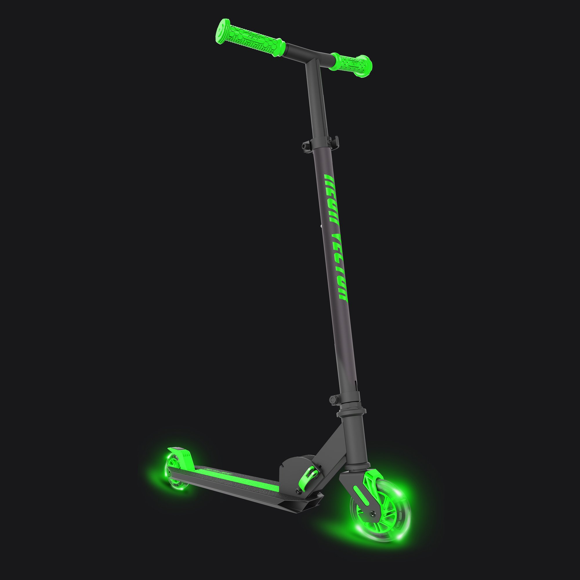 Neon Vector, LED Kids Scooter, One Size, Foldable Light Up Scooter (Green)