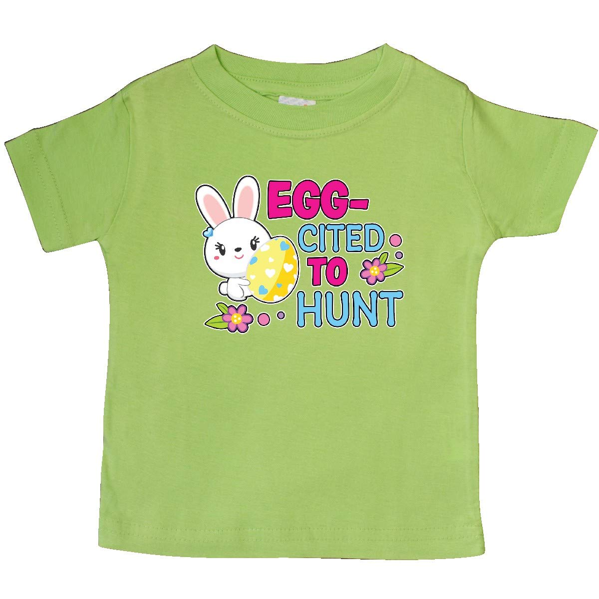 inktastic Eggcited to Hunt with Bunny Holding Easter Egg Baby T-Shirt