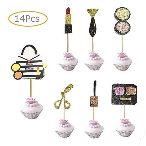 Voloker Decoración para Cupcakes de Maquillaje, Fiesta de cumpleaños, decoración de Tartas para niñas 18 cumpleaños Despedida de Soltera (14 Piezas)