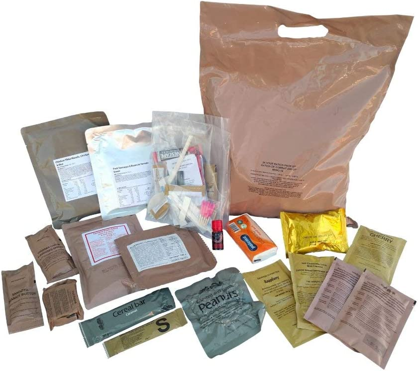 New BRITISH MRE Army Ration Meal Ready To Eat Emergency Food Supplies Genuine ORP (Menu 4)