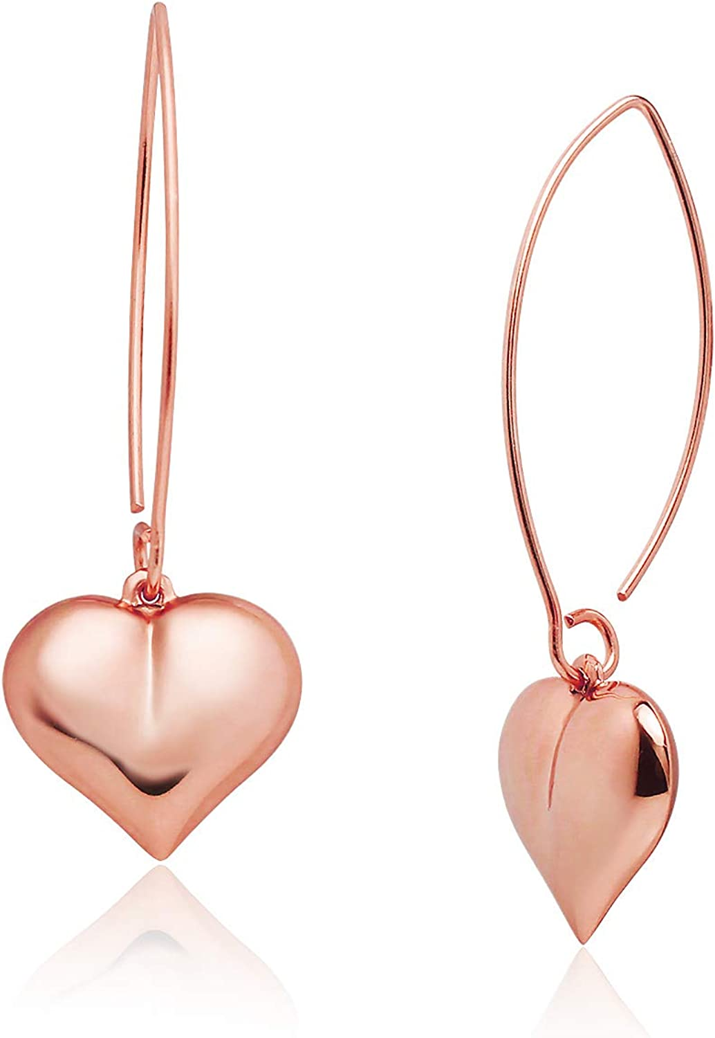 Big Apple Hoops - Valentine Love Heart Dangle Drop Earrings Made from Real Solid 925 Sterling Silver in 3 Color Rose, Silver or Gold with Protective Electrocoated Finish for Maximum Anti-Tarnish