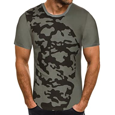 36d815d528a iHPH7 Mens Blouse Summer Short Sleeve Print Camouflage Casual Slim T-Shirt  Tops