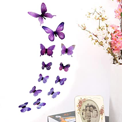 Liping Wall Paper 3d 12 Pcs Butterfly Wall Stickers Removable Decal Art Home Decor Painting Supplies Room Decor Kit Kids Bedroom Decoration Purple