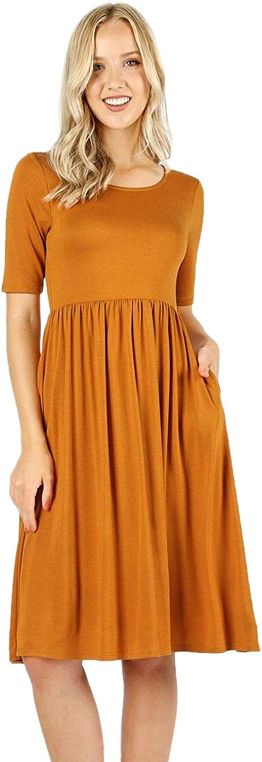 Sportoli Pleated Dresses for Women Solid Loose Plain Casual T-Shirt midi Dress W/Pockets