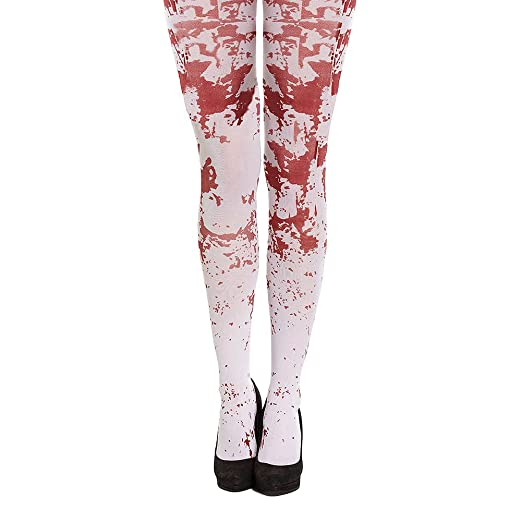361fc05f20a83 White Blood Splattered Tights Halloween Fancy Dress Accessory at Amazon  Women's Clothing store: