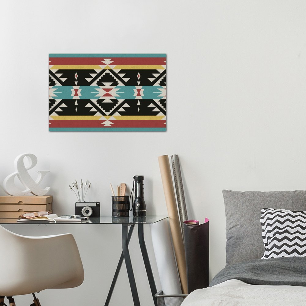 60 by 40//1.5 Deep iCanvasART 3 Piece Tribal Black Red and Blue Canvas Print by Darklord