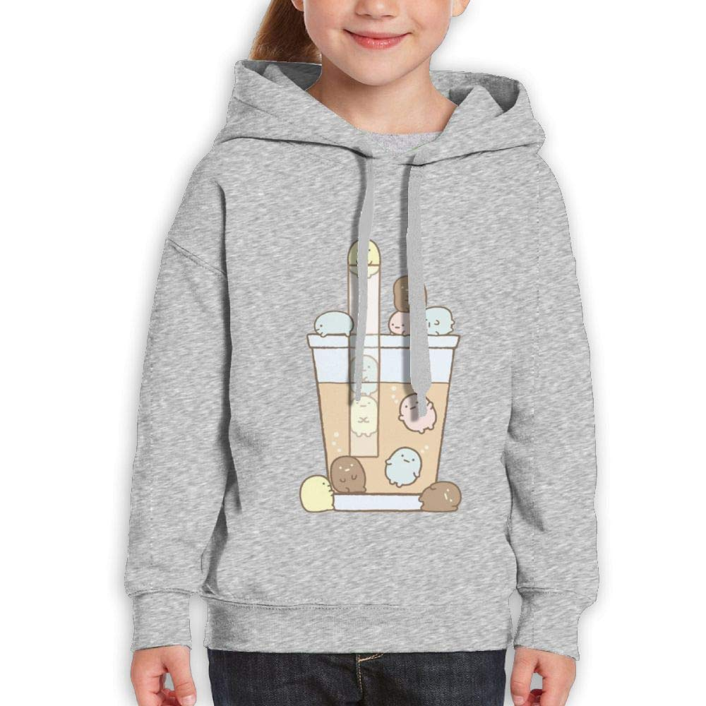 Qiop Nee Cartoon Bubble Tea Youth Hooded Print Long Sleeve Sweatshirt Girls by Qiop Nee (Image #1)