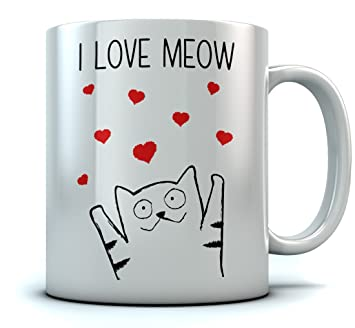 I Love Meow Coffee Mug Valentines Gift For Cat Lovers Birthday Him
