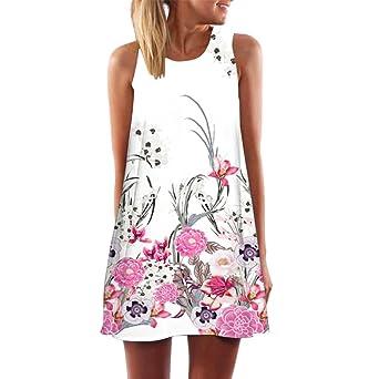 Vestidos mujer casual verano 2018, VENMO Vintage mujeres bohemio verano sin mangas flores impresa mini vestido corto camisolas playa: Amazon.es: Ropa y ...
