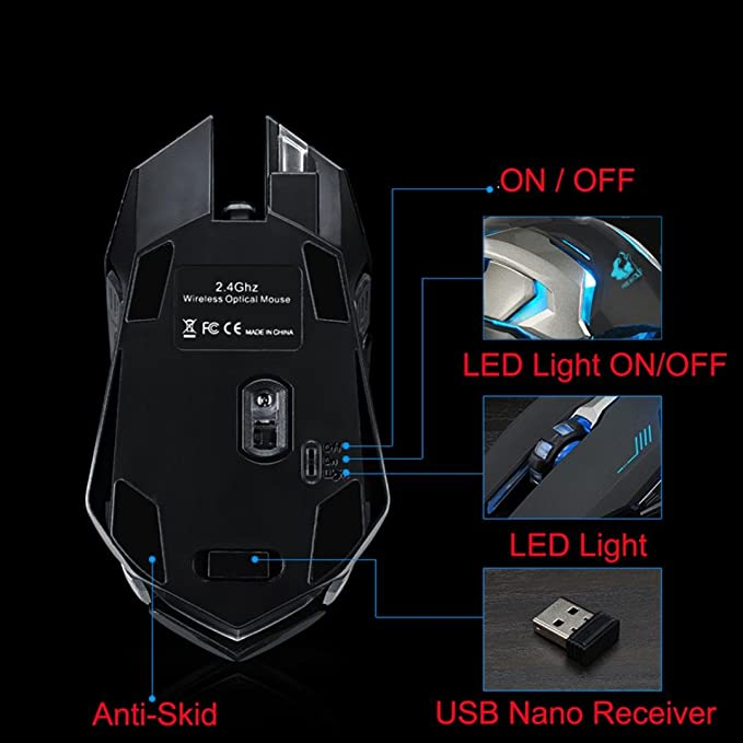 Amazon.com: Fullfun FREE WOLF Rechargeable X7 Wireless Sound off LED Backlit USB Optical Gaming Mouse (Black): Computers & Accessories