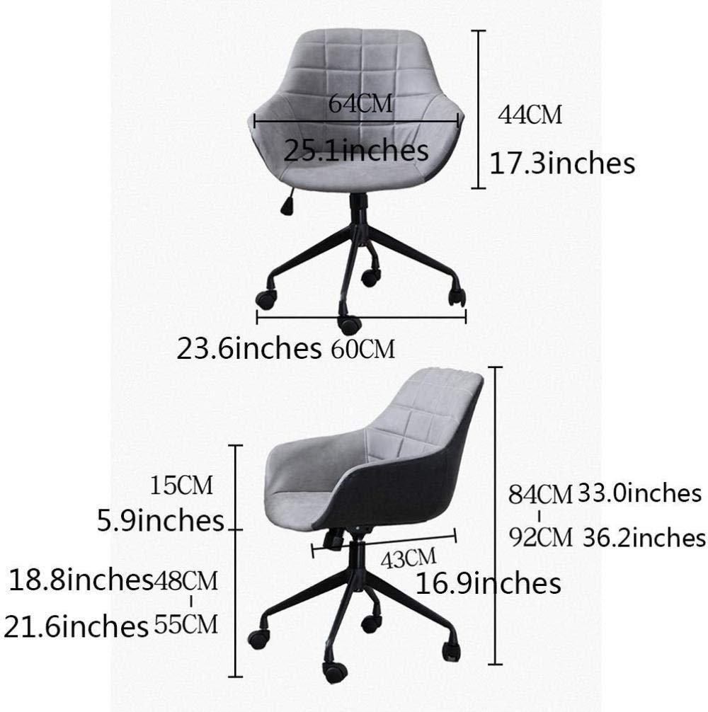 Xiuyun kontorsstol spelstol datorstol, ergonomisk ledstång kurva lyftbord svängbar stol för hem arbetsrum barstol svängbar stol (färg: grå) Svart
