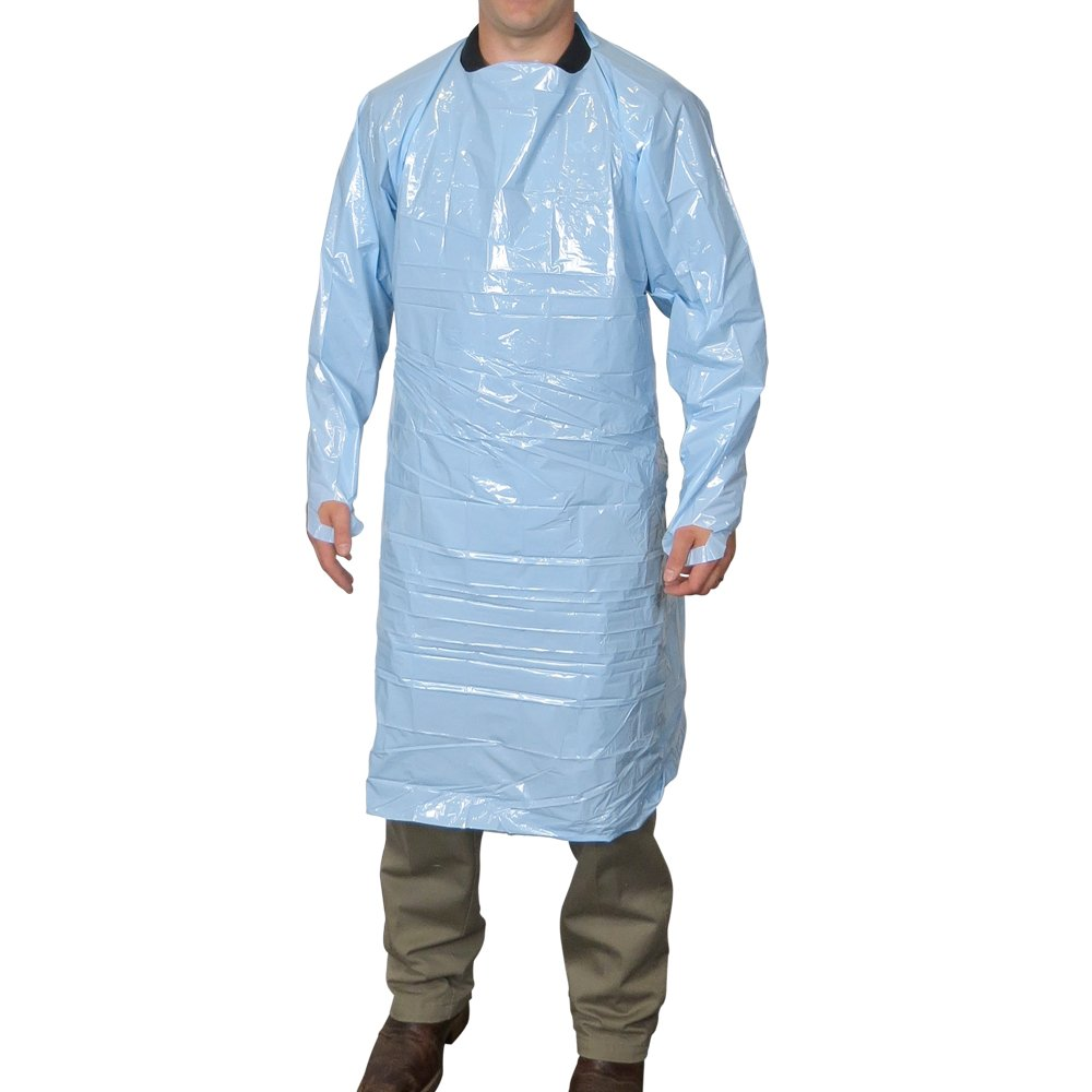 UltraSource Disposable Polyethylene Gowns, 45'', Blue (Pack of 100) by UltraSource (Image #1)