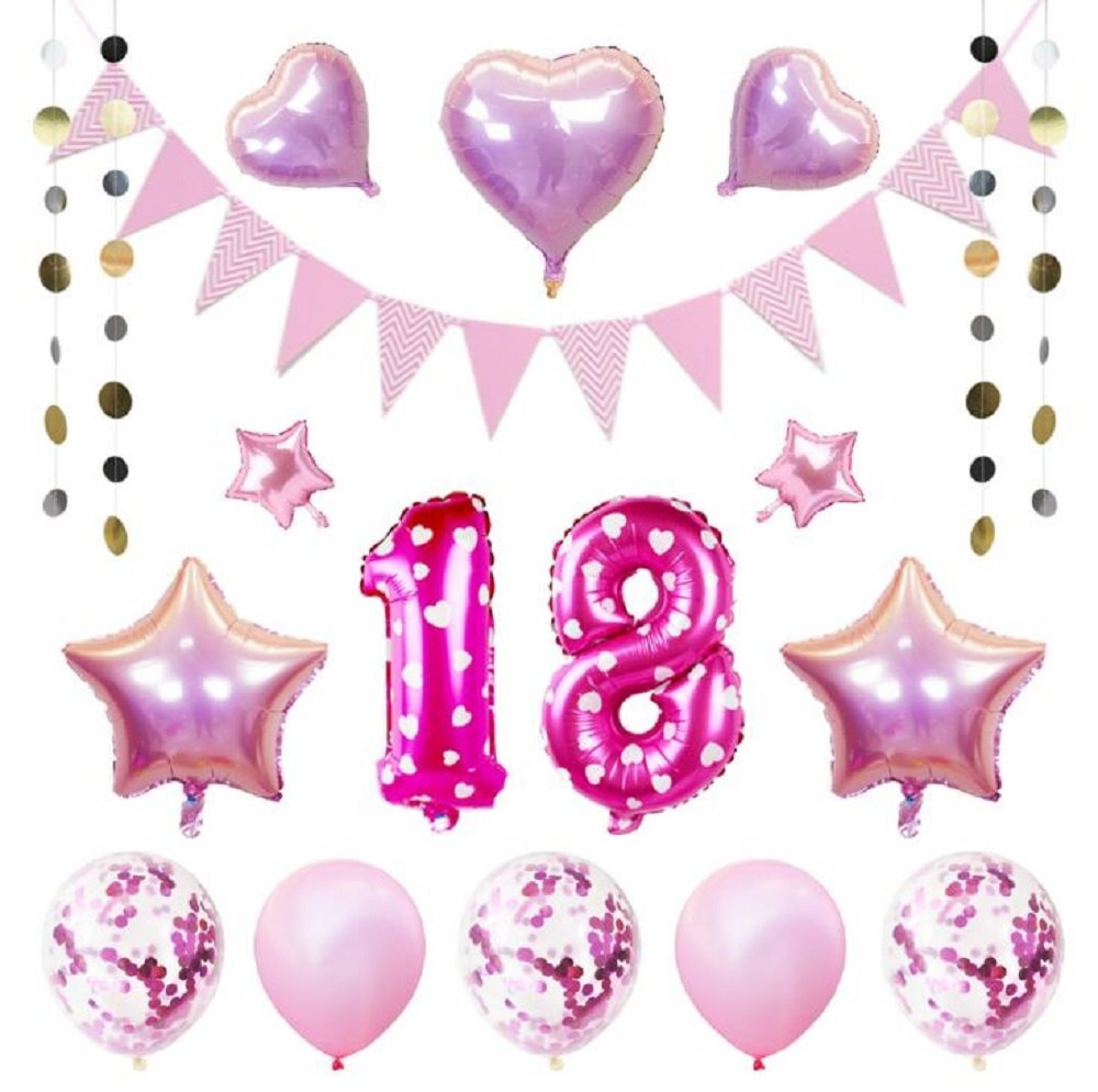 EBTOYS 18th Birthday Decorations Party Supplies Number Balloons Foil Latex Balloon Round Dot Banner For Photo PropsParty Favors