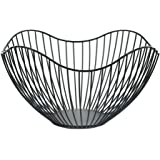 Metal Wire Fruit Container Bowls Stand for Modern Kitchen Countertop, Large Round Black Storage Baskets for Bread, K Cup…