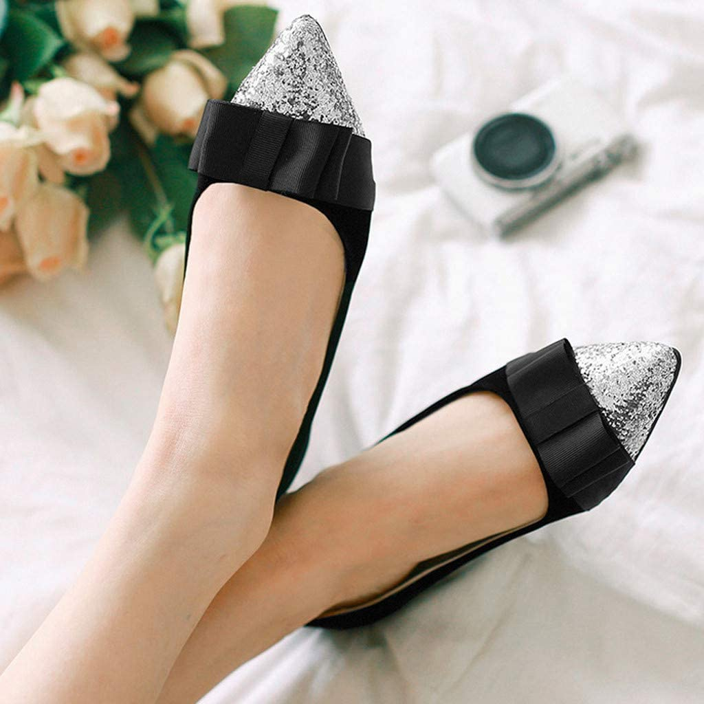 Swiusd Womens Comfy Flat Loafers Sequin Pointed Toe Shallow Single Shoes Retro Solid Color Bow Dance Party Dress Shoes Clearance