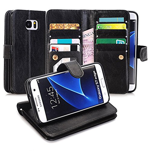 Galaxy S7 Edge Case, Asstar [Card/Cash Slots] Built-in 9 Slots Heavy Duty Protective Shock Resistant Luxury PU Leather Case Flip Cover case for Samsung Galaxy S7 Edge (BLACK)