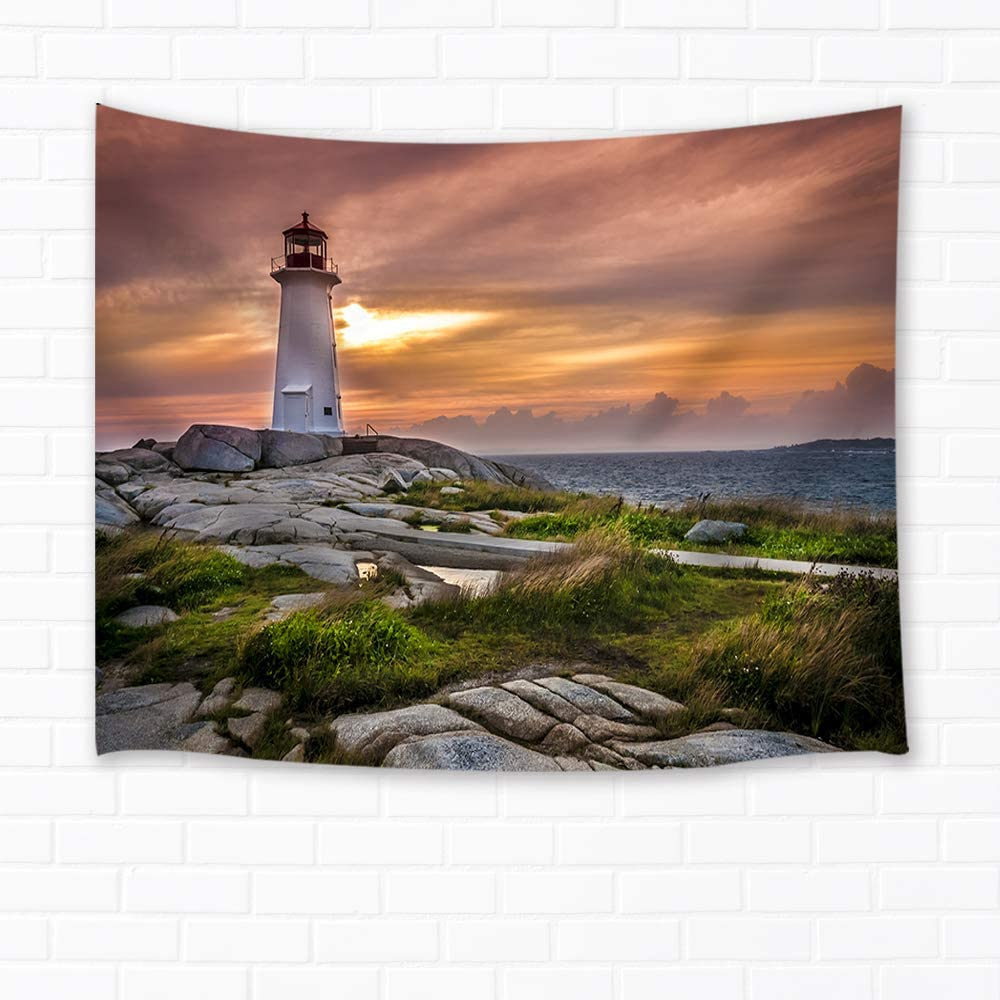 Shocur Lighthouse Tapestry, Sea Sunset Coast Rock Tapestry Beautiful Scenery Tapestry, Wall Hanging Art for Living Room Bedroom Home Decor, 51 X 59 Inches with Pins