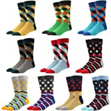 10 Pack Men's Novelty Cute Socks Casual Crazy Fun Funny Bright Patterned Designed Style US size 8 9 10 11 12 13