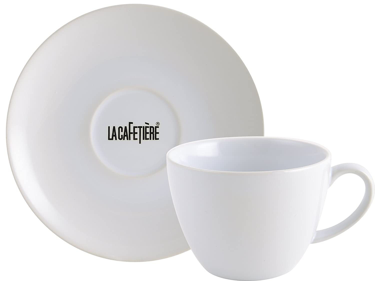Creative Tops La Cafetière Decal ceramic Coffee Cup and Saucer, White, 450ml (15 fl oz) 5153370