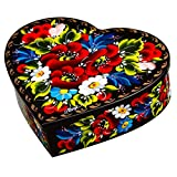 Ethnic Floral Heart-Shaped Wooden Jewelry Lacquer Box Hand-Painted in Ukraine Case for Earrings, Necklace, Rings