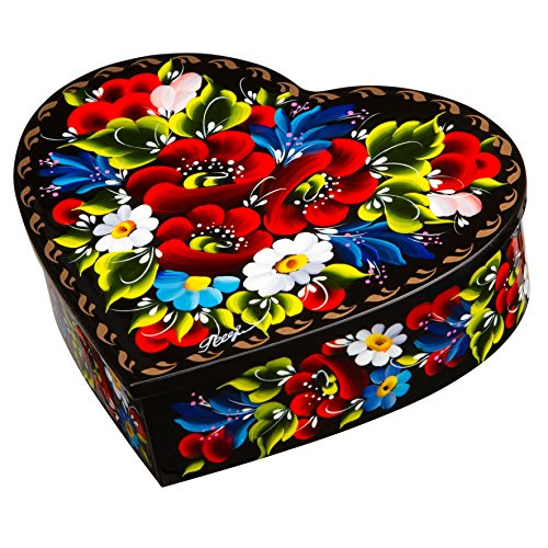 Petrykiv Ethnic Floral Style Heart-Shaped Lacquer Wooden Jewelry Box Hand Painted in Ukraine, Beautiful Gift for Girls and Women, Storage Case for Earrings, Necklace and Rings ()