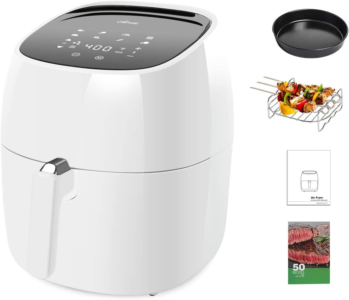 Chefway Air Fryer, 7.5 Quart Electric Hot Air Fryers Oven Oilless Cooker with LCD Digital Screen and Nonstick Frying Pot,1700W 8 in 1 Large Fast Hot Oven & Oiless Cooker,Fry/Roast/Bake/Dehydrate,50 Recipe Cookbook, White