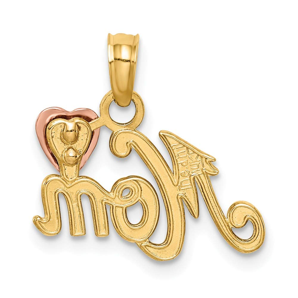 14k Two-Tone Polished Mom with Heart Pendant