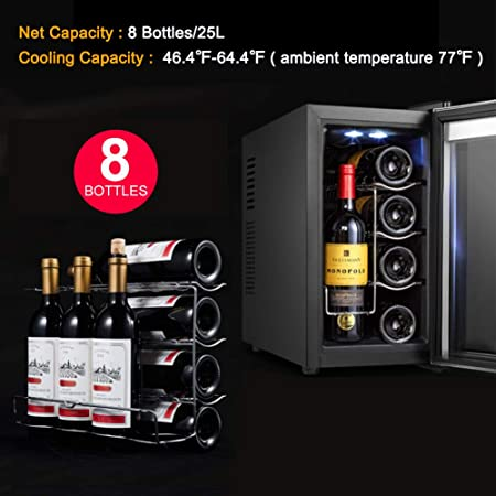 Vanell 8 Bottles Wine Cooler Thermoelectric Small Refrigerator Red White Champagne Touch Wine Fridge Chiller Counter Top Wine Cellar Touch Temperature Control Thermoelectric// 8 Bottles