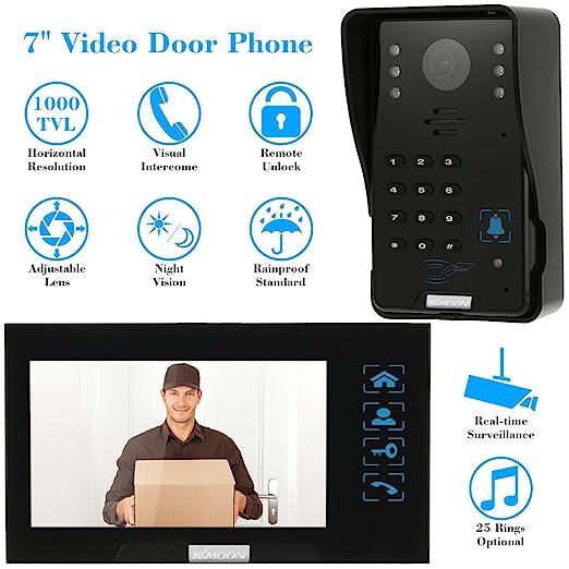 KKmoon 7 Pollici Videocitofono Portello Telefono Campanello Citofono Telecomando Sblocco Visione Notturna Antipioggia Sicurezza CCTV Telecamera Sorveglianza Domestica TP01H-12