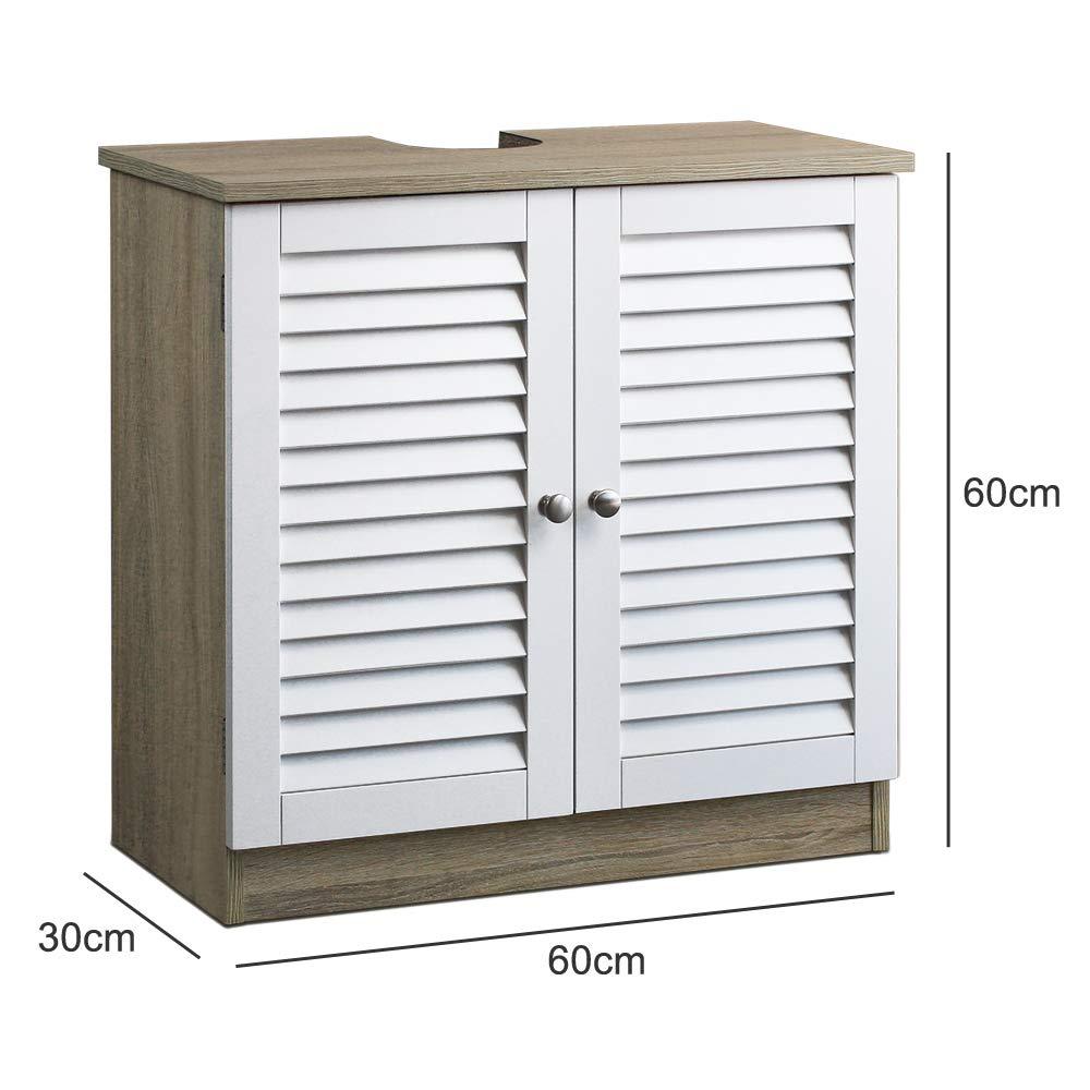 Waschbeckenunterschrank mit Lamellentür Unterschrank   60 x 30 x ...