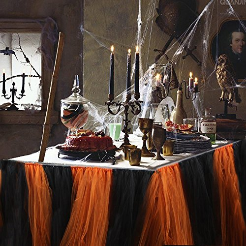 Haperlare 31 x 36 inch Halloween Tulle Table Skirt Orange and Black Tablecloth Tutu Tablecloth Skirting for Halloween Party Table Decorations Not Include String (Black And Orange Party Decorations)
